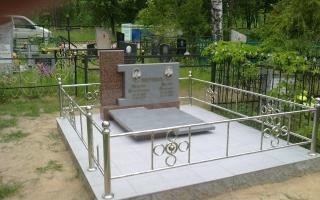 Комбинированный гранитный памятник с оградой из нержавейки